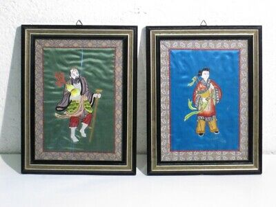 2 Vintage Paintings with Shapes Oriental on Fabric Colourful Xx Century