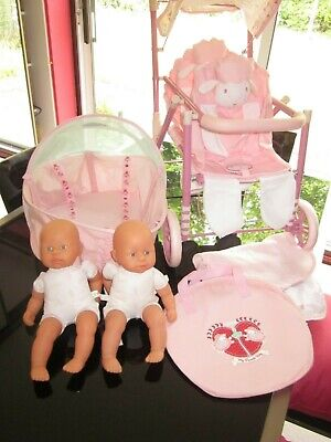 Bundle Baby Annabell Twin Pushchair + 2 Twin Dolls + Ba Travel Cot Gc