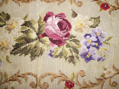 VINTAGE UNFINISHED UPHOLSTERY TAPESTRY PANEL for STOOL or BENCH 112cm by 59cm