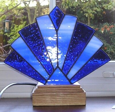 Stained Glass Art Deco Style Fan Lamp / Night Light, Handmade in England