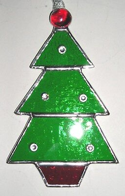 Stained Glass Christmas Tree Decoration, Suncatcher, Handmade in England
