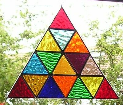 Stained Glass Panel, Rainbow Triangle Suncatcher, Handmade in England