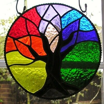 Stained Glass Rainbow Tree of Life Panel, Window Suncatcher, Handmade In England