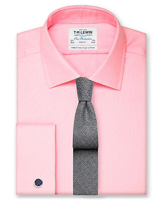 T.M.Lewin Men's Suit Shirt Oxford - Slim Fit Double Cuff Easy Iron Finish - Pink