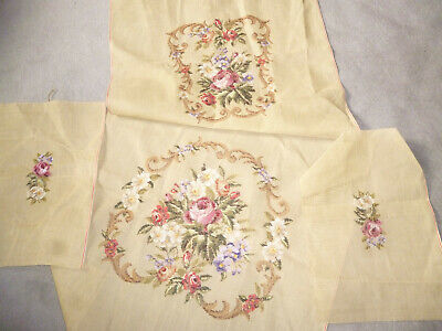 VINTAGE UNFINISHED 4 UPHOLSTERY TAPESTRY PANELS for ANTIQUE ARMCHAIR
