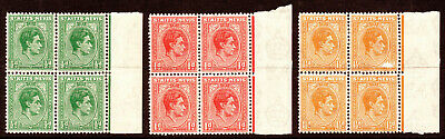 St Kitts-Nevis KGVI 1938-50 SG68/70 in MNH Blks of 4 stamps