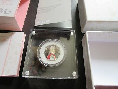 BEATRIX POTTER, FLOPSY BUNNY 2018 SILVER PROOF 50p COIN, BRAND NEW & COA