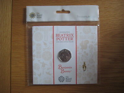 BEATRIX POTTER, ROYAL MINT BENJAMIN BUNNY BRILLIANT UNCIRCULATED 50p COIN, NEW