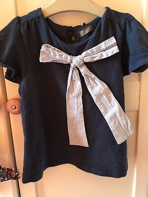 NEXT Girls 3-4 Navy Blue Blouse With Bow Detail Fluted Short Sleeves