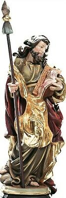 Statue St.Martin Tommaso cm 20 Carved Wooden of Gherdëina and Hand Decorated