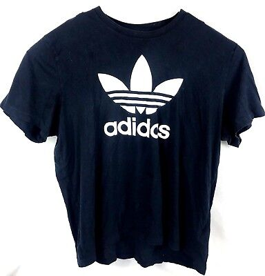 Adidas Originals Trefoil Crew Neck Cotton S/S Black T Shirt Men's 2XL Vintage