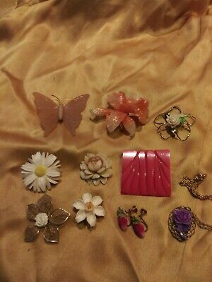 Vintage Carved Celluloid Early Plastic Brooch Pin Lot Orchid Butterfly Art Deco