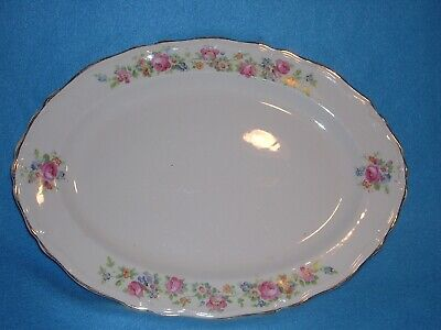 "The Edwin Knowles China Company 37-4, USA Platter, Pink Flowers 13"", Vintage"