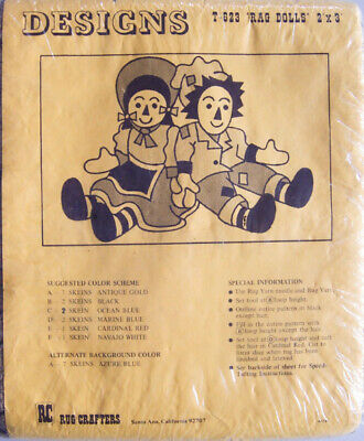 """Vintage Rug Crafters """"RAG DOLLS"""" 2'x3' Printed Burlap for Tufting #T-623 - NEW!"""