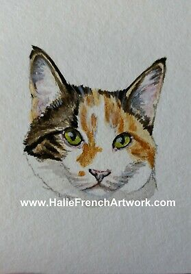 Watercolor Painting Original Orange Gold Tabby Tuxedo tux Cat ACEO Halie French