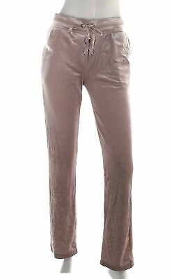 Material Girl Active Womens 2680 Velour Sweat Pants Pink Shiny Lace Up Lounge M