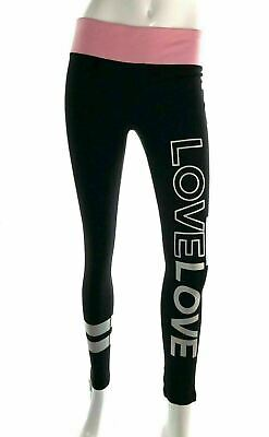 Material Girl Active Womens 58779 Leggings Love Graphic Black Pink Waistband XS