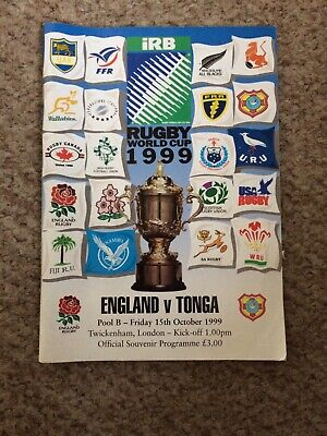 1999 Rugby World Cup - England v Tonga Programme - Friday 15th October 1999