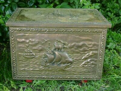 Antique Brass Lidded Coal Log Kinline Fireplace Box with Ship Scene Trunk Chest