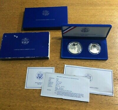 1986 Statue of Liberty 2 Coin Silver Dollar and Plated Half US PROOF Mint Set