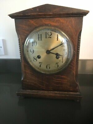 Antique Edwardian wooden cased mantle clock