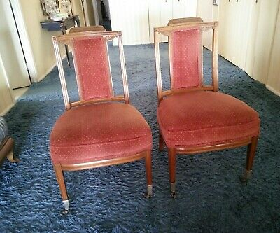 Vintage Pair Excellent Quality Detail French Louis Xv Style Slipper Side Chairs