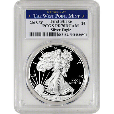 2018-W American Silver Eagle Proof PCGS PR70 DCAM First Strike West Point Label