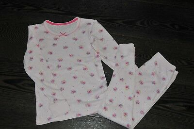 Girls M&S Pink Pointelle Thermal Set Pyjamas Or Ski Base Layer Size 7-8 Years