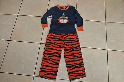 Boys Gap Navy Orange Fleece Skiing Tiger Pyjamas Size 3-4 Years