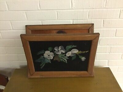 Vintage Antique Retro Wood Wall Hanging Magazine Rack With Painted Front Unusual