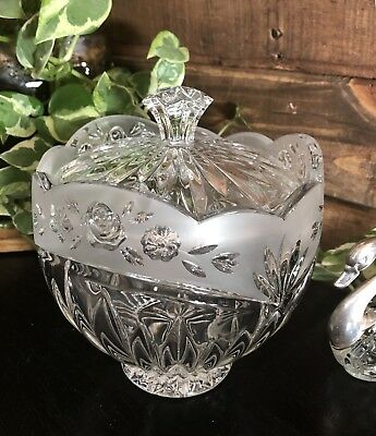 Oneida Crystal Candy Bowl with lid Southern Garden Frosted Rim Roses Votive hold