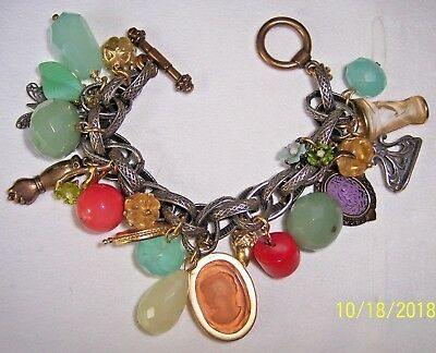 Extasia Multi Color Stone W/ Intaglio  Mixed Metal Charm Bracelet Loaded!!