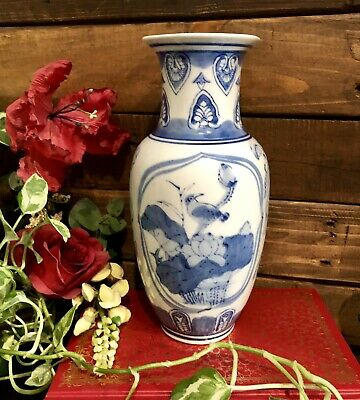 Vintage Blue and White Chinese Porcelain Vase Chinoiserie Urn Hollywood Regency