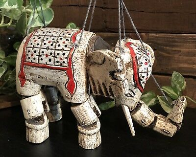 Vintage Elephant Ethnic Wooden Wood Puppet Marionette hand painted Animal decor