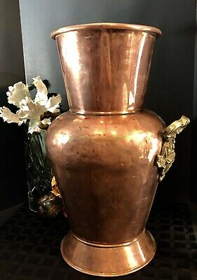 Copper Urn Vase Large hand hammered Old brass weldings and handles of grapes old