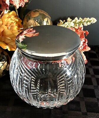 """Crystal cut Bowl with Silver-plated Lid """"Plata Lappas"""" Argentina THICK facet cut"""