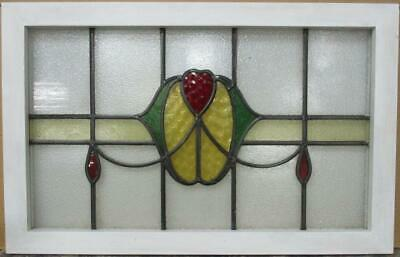 "OLD ENGLISH LEADED STAIN GLASS WINDOW TRANSOM Heart & Swag Design 30.5"" x 19.5"""