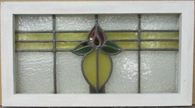 "MIDSIZE OLD ENGLISH LEADED STAINED GLASS WINDOW Pretty Floral Band 23.75"" x 13"""