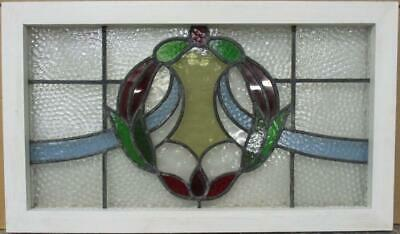 "MIDSIZE OLD ENGLISH LEADED STAINED GLASS WINDOW Stunning Wreath 26.75"" x 15.75"""