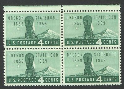 Vintage Unused US Postage Block 4 Cent OREGON STATEHOOD 1859-1959