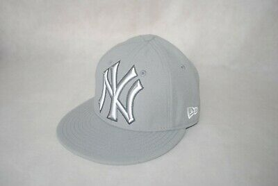 a52a7609c New Era MLB NEW YORK YANKEES NY 59FIFTY Flat Brim Fitted Cap Gray Baseball  6 7