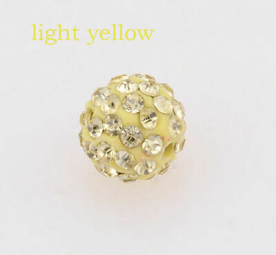 Wholesale 100 Pcs Cz Crystal Shamballa Beads Pave Disco Balls light yellow 10MM