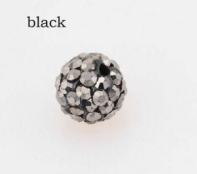 Wholesale 100 Pcs Cz Crystal Shamballa Beads Pave Disco Balls blight black 10MM