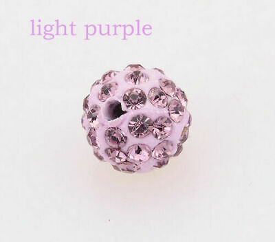 Wholesale 100 Pcs Cz Crystal Shamballa Beads Pave Disco Balls light purple 10MM