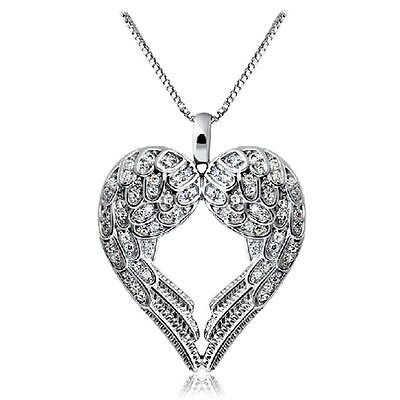 Women Cute 925 Silver Angel Wing Pendant Necklace Jewlery love Heart Shaped