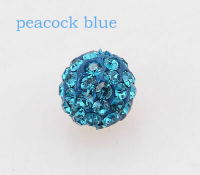 Wholesale 100 Pcs Cz Crystal Shamballa Beads Pave Disco Balls peacock blue10MM