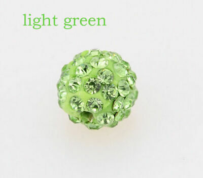 Wholesale 100 Pcs Cz Crystal Shamballa Beads Pave Disco Balls light green10MM