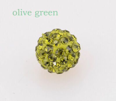 Wholesale 100 Pcs Cz Crystal Shamballa Beads Pave Disco Balls olive green 10MM