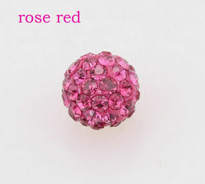 Wholesale 100 Pcs Cz Crystal Shamballa Beads Pave Disco Balls rose red 10MM