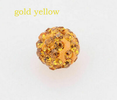 Wholesale 100 Pcs Cz Crystal Shamballa Beads Pave Disco Balls glod yellow 10MM